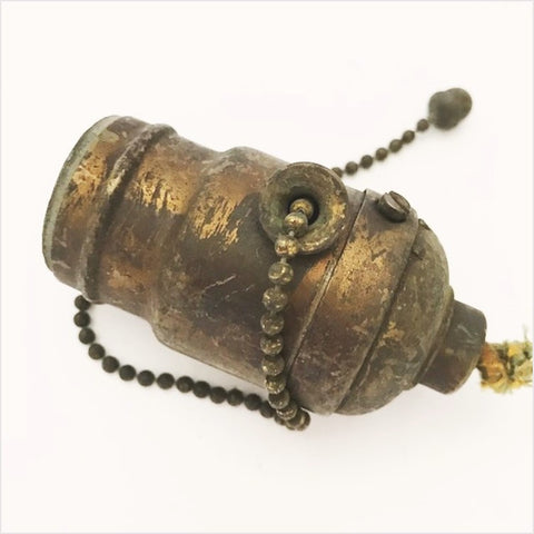 Antique Hubbell Mission Socket Acorn Pull Chain c1905