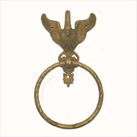 Brass Swan Vintage Towel Ring