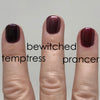 Fingers comparison painted with Temptress, Bewitched, and Prancer