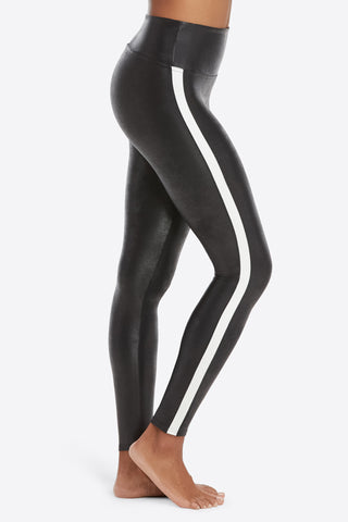 Faux Leather Leggings with Racing Stripe