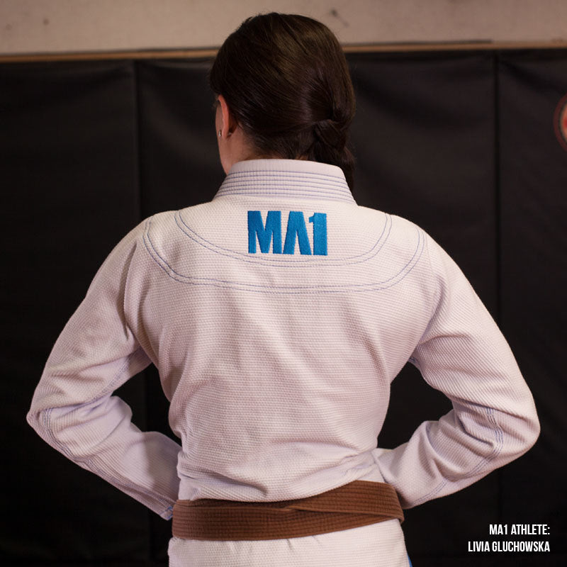MA1 Female Premium Comp Gi - White, Baby Blue & Grey