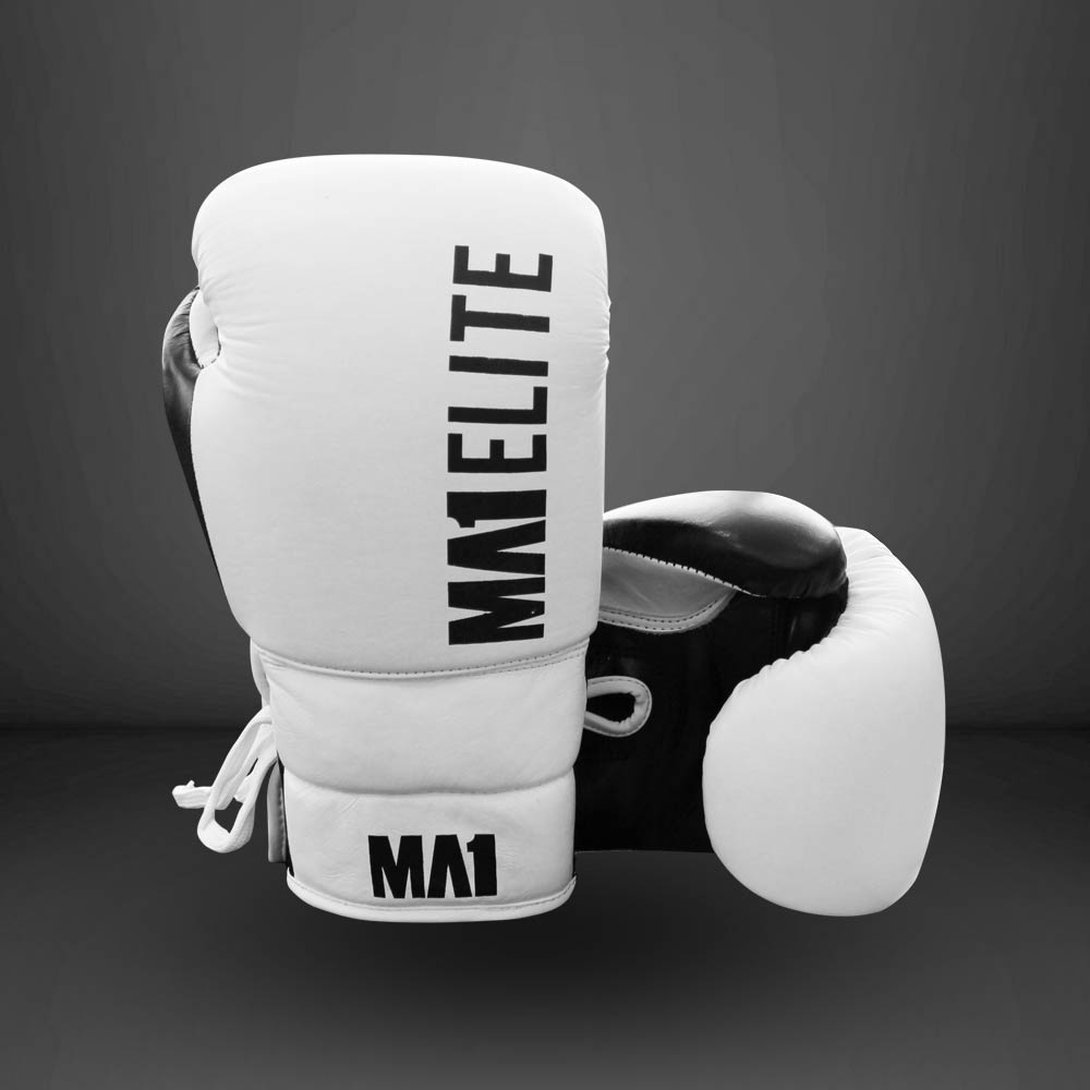 MA1 Elite Leather 10oz Lace up Gloves - White