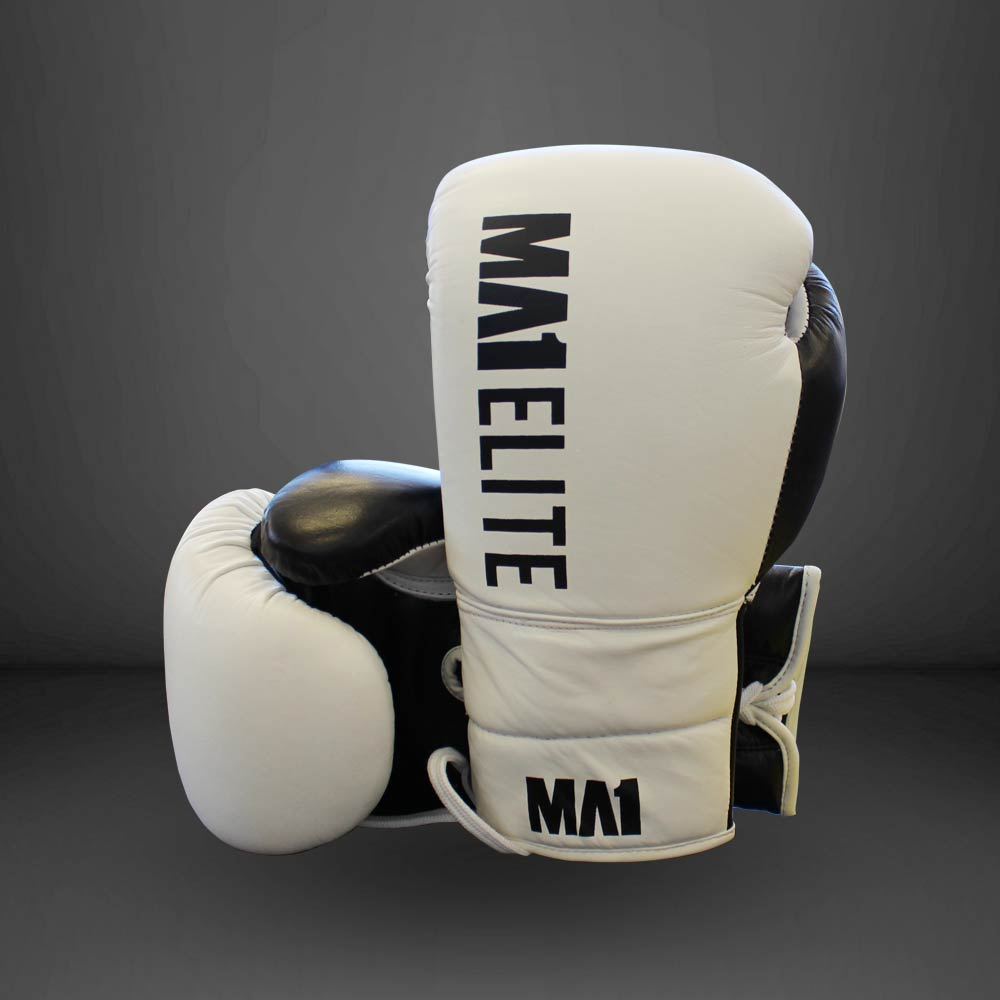 MA1 Elite Leather 12oz Lace up Gloves - White