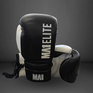MA1 Elite Leather 12oz Lace up Gloves - Black