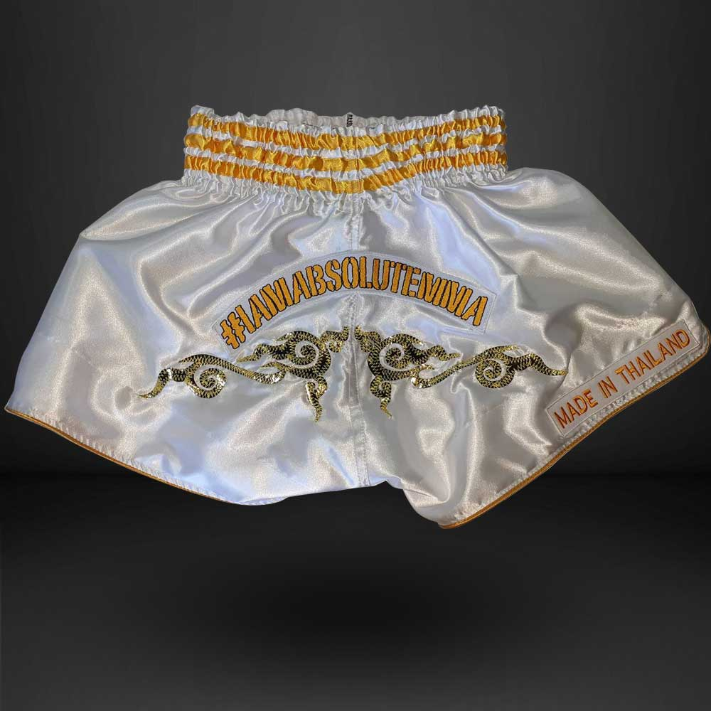 MA1 Thai Made White Absolute Muay Thai Shorts