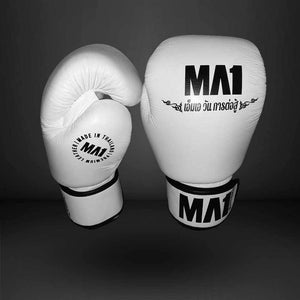 MA1 Thai Made White Leather 10oz Boxing Gloves