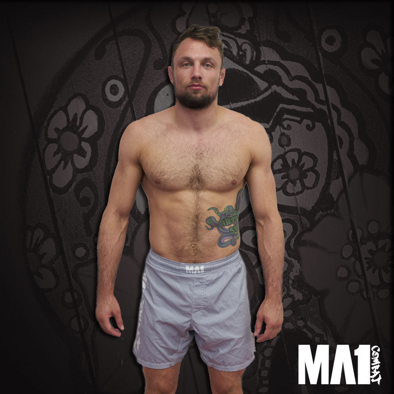 MA1 Combat Basic Grey White MMA Shorts