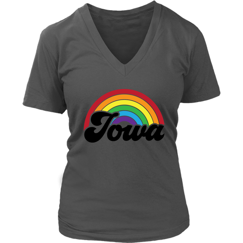 Iowa Rainbow Womens V-Neck - Extended Sizes Available