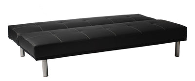 Sev Sofa Bed Black Leatherette/Stainless Steel
