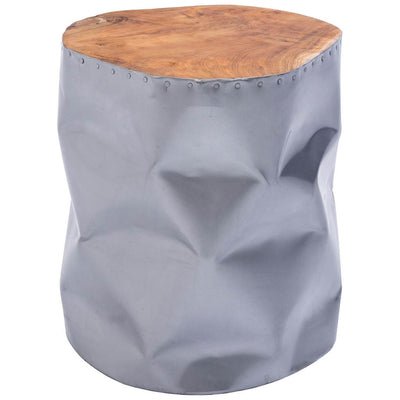 Cane Stool Table Silver