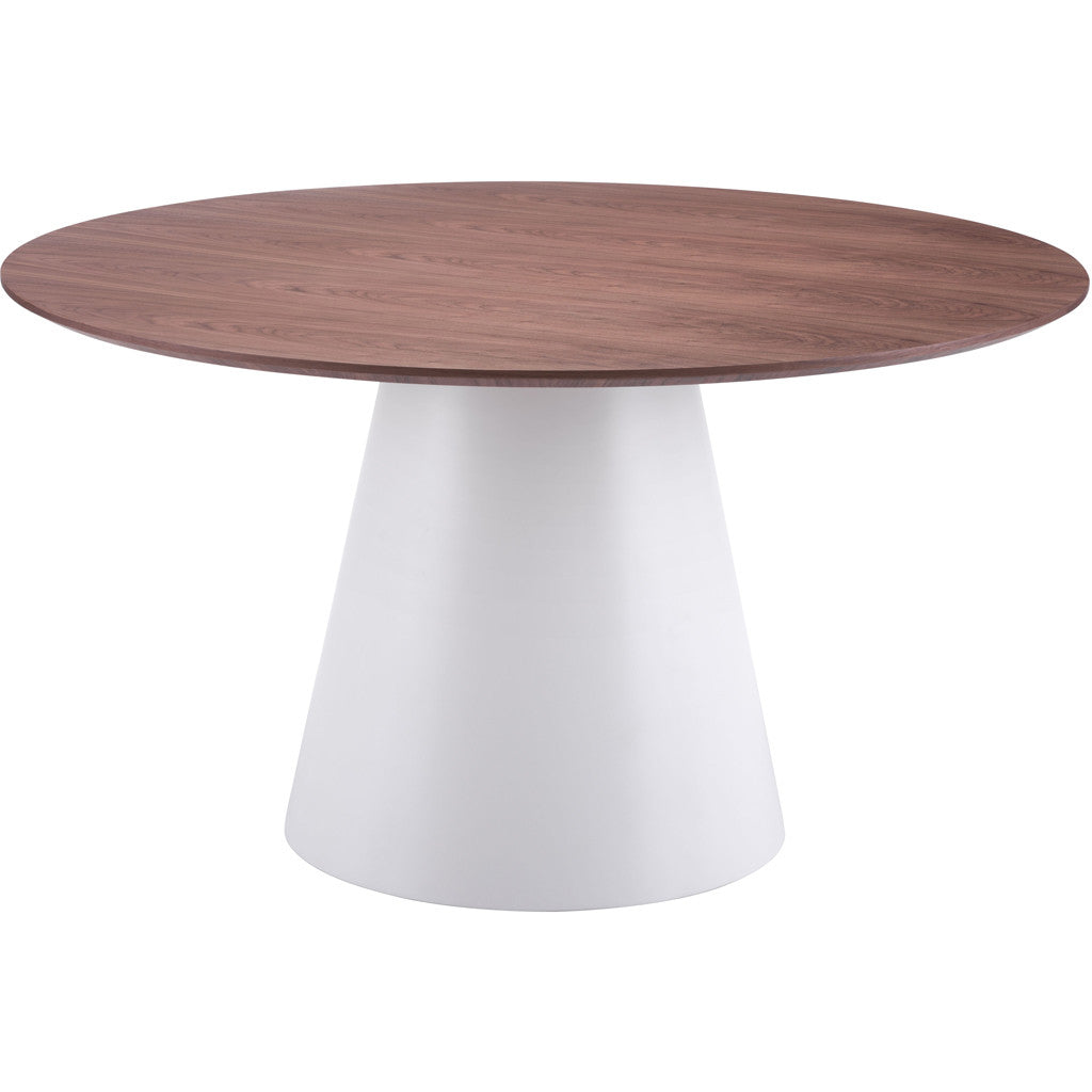 Quiescent Dining Table White & Walnut