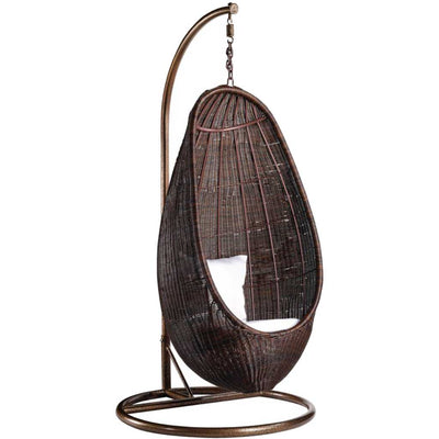 Rattan Hanging Chair with Stand Chocolate Rattan