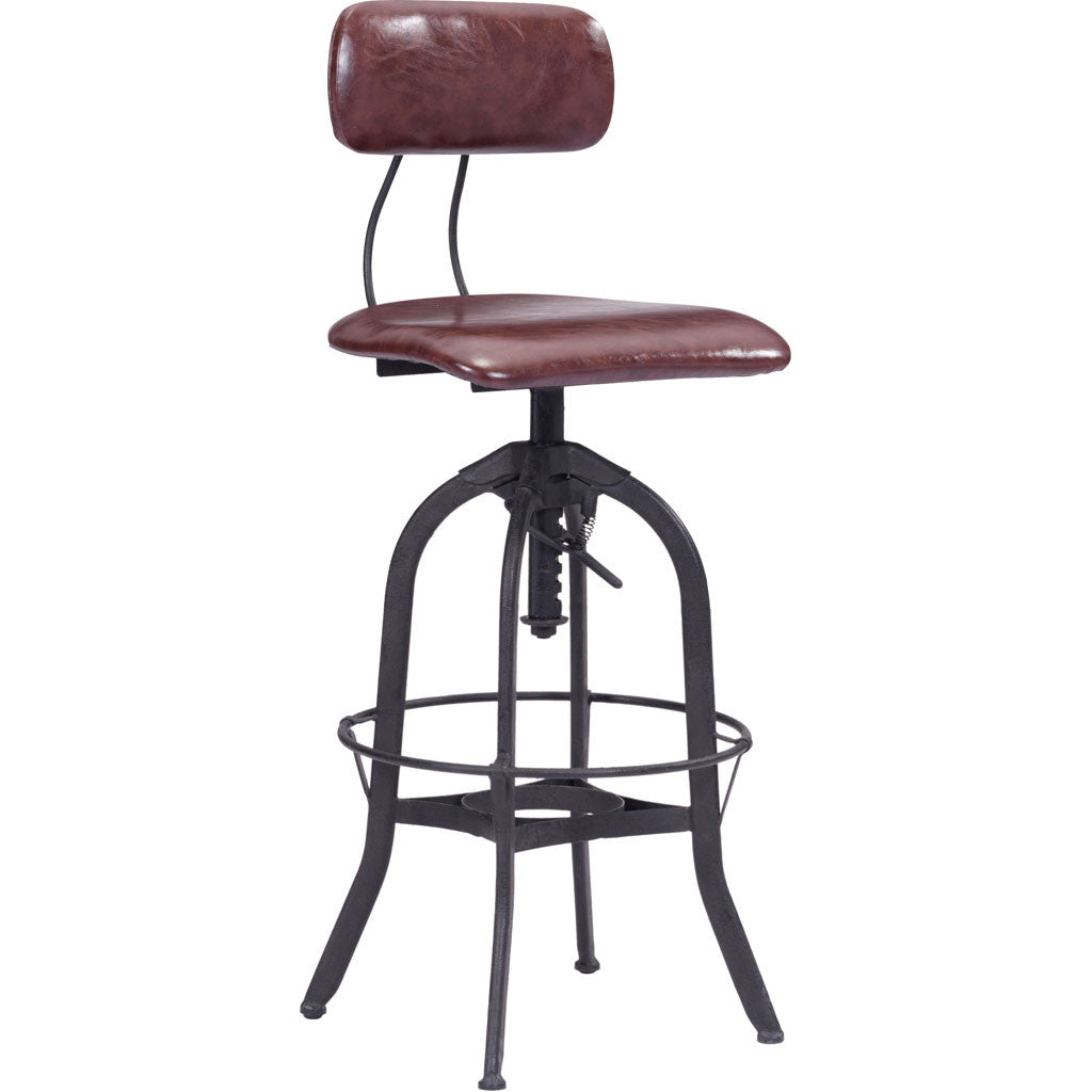 Genoa Bar Chair Burgundy & Antique Black