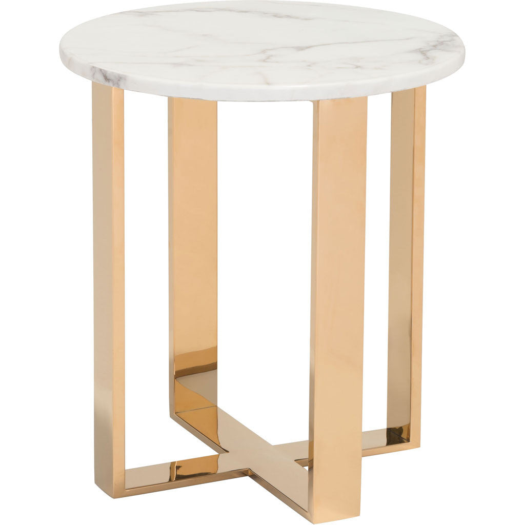 Acel End Table Stone & Gold