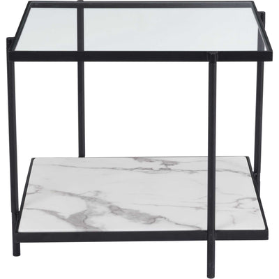 Watts End Table Matte Black/Stone