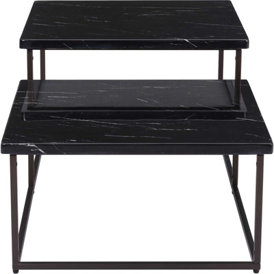 Shaw Coffee Table Black/Stone/Antique Brass