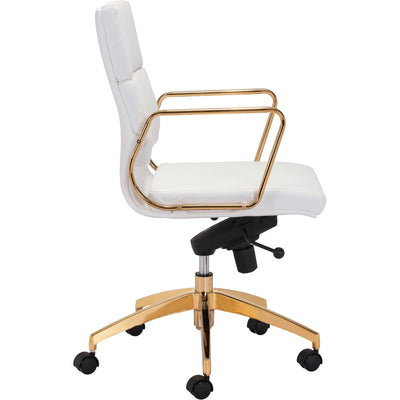 Smart Low Back Office Chair White/Gold