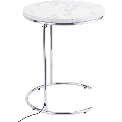 Kennedy Side Table White/Chrome