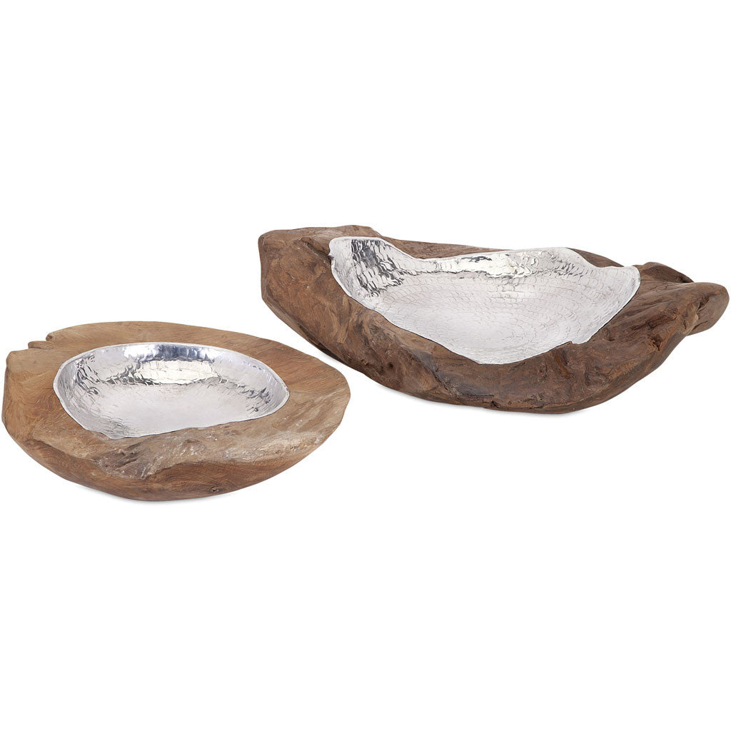 Abound Teak and Aluminum Bowls (Set of 2)