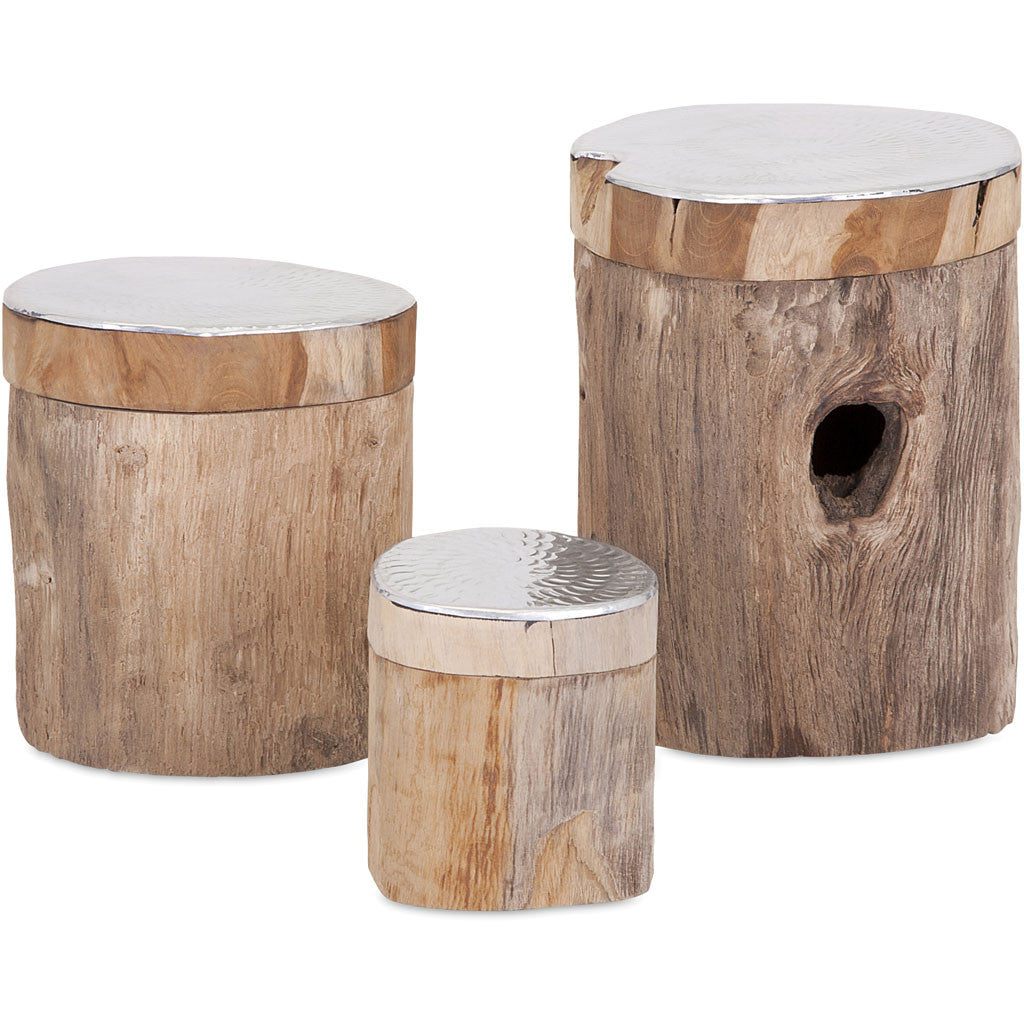 Abound Teak and Aluminum Lidded Boxes (Set of 3)
