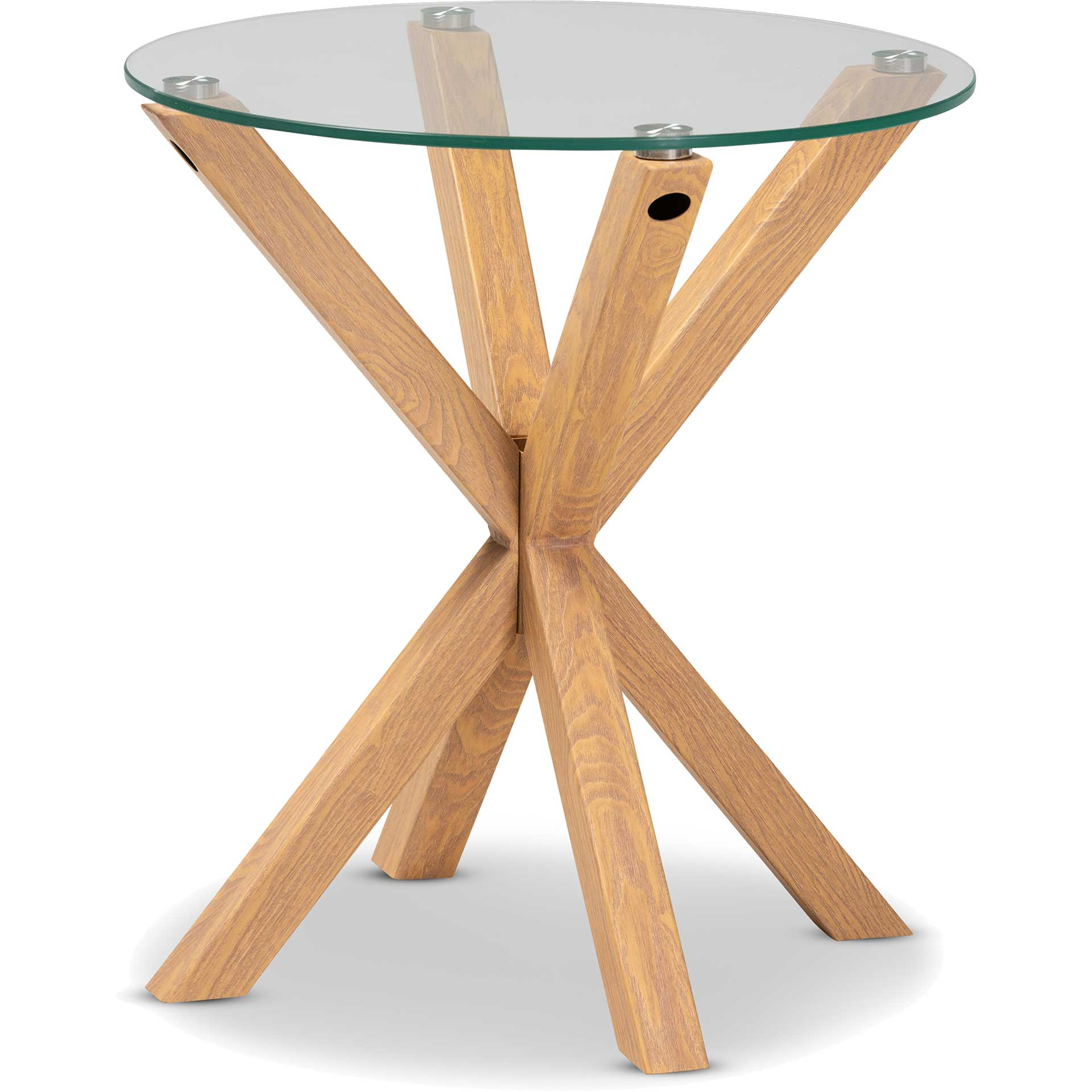 Lian Glass/Wood End Table Clear/Natural