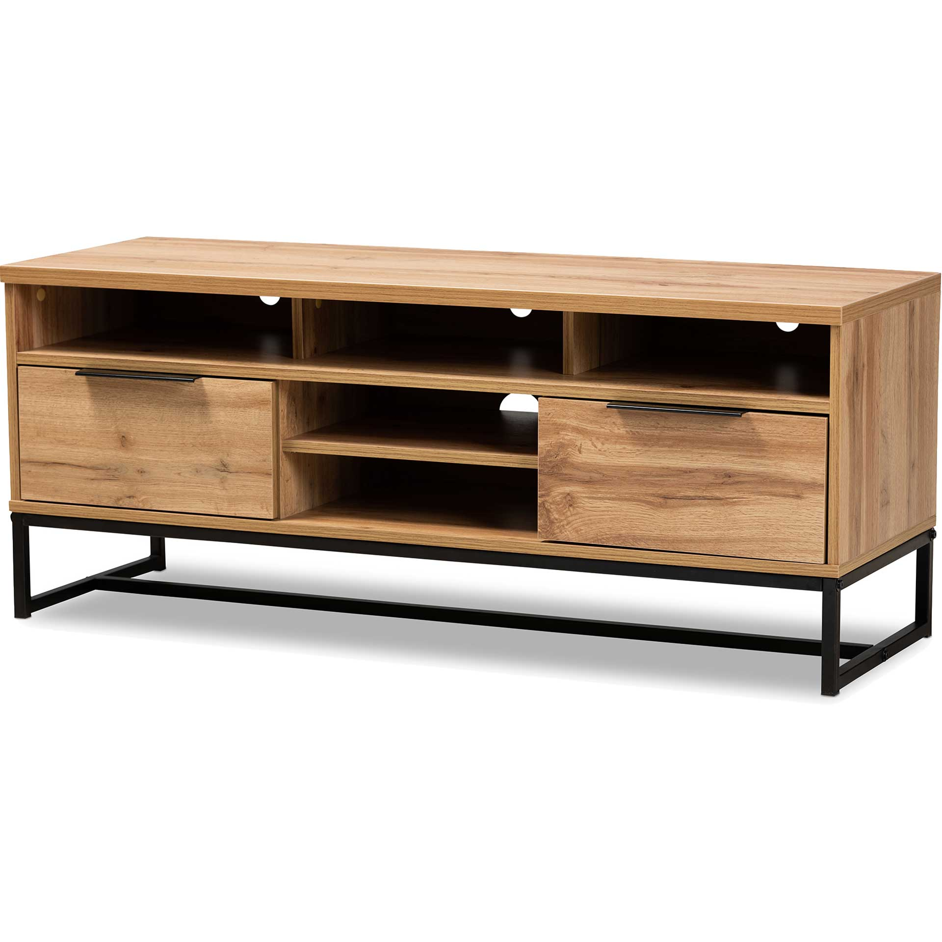 Realyn 2-Drawer TV Stand Oak/Black