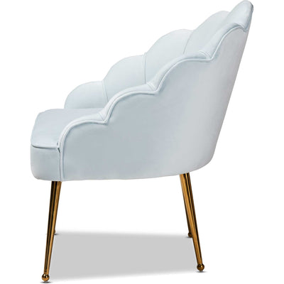 Ciarra Velvet Fabric Upholstered Chair Light Blue/Gold