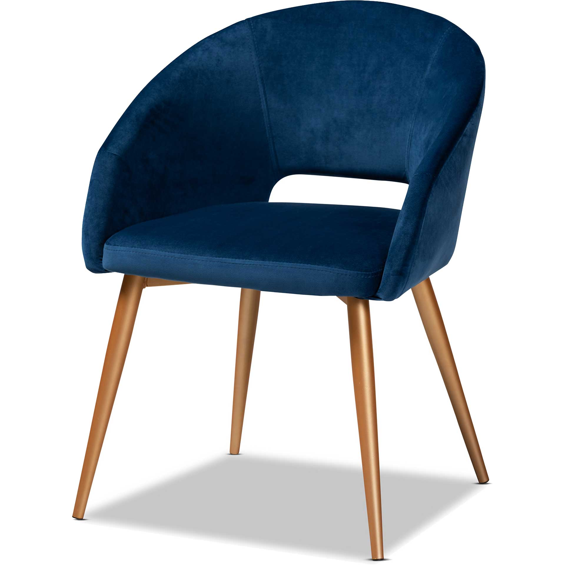 Victor Velvet Fabric Upholstered Dining Chair Navy/Gold