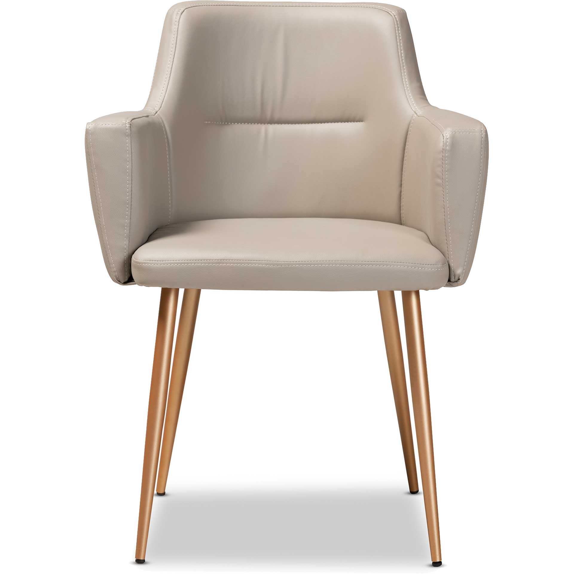 Macari Faux Leather Upholstered Dining Chair Beige/Gold