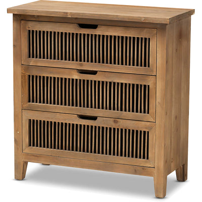 Claudia 3-Drawer Spindle Chest Brown