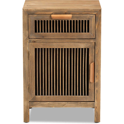 Claudia 1-Door and 1-Drawer Spindle Nightstand Brown