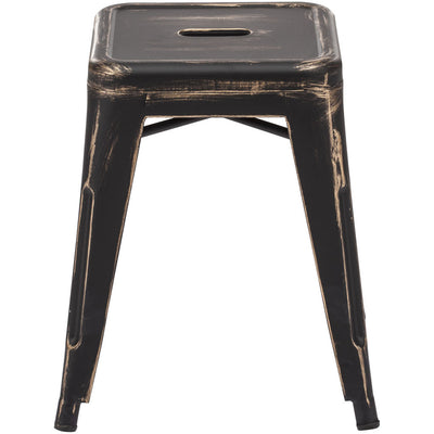 Manchester Stool Antique Black Gold