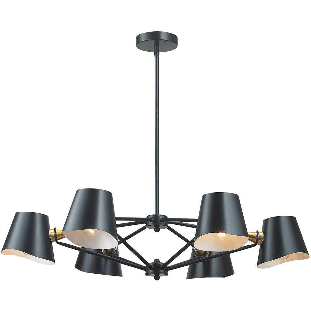 Weber 6-Light Chandelier Matte Black/Gold Leaf