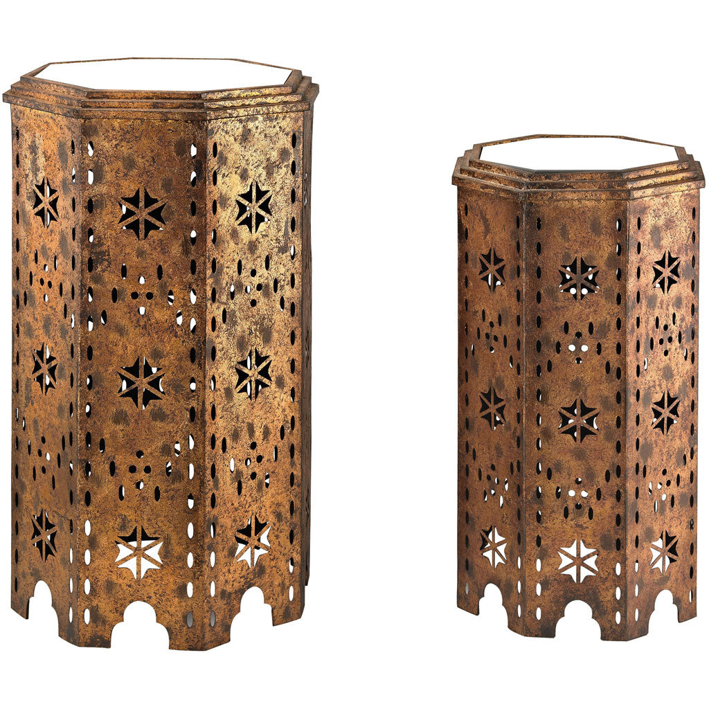 Moroccan Mirror Top Side Table (Set of 2)