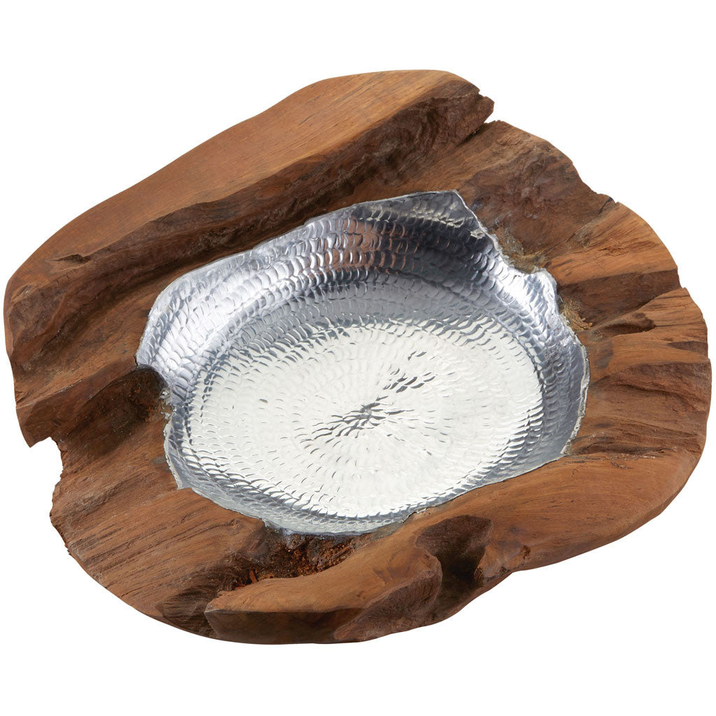 Hem Medium Round Teak Bowl Aluminum