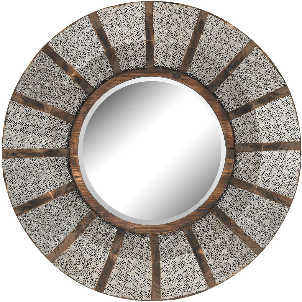 Tangier Wood/Pierced Metal Round Mirror