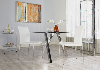 Freya Table Clear Glass/ Polished Stainless Steel