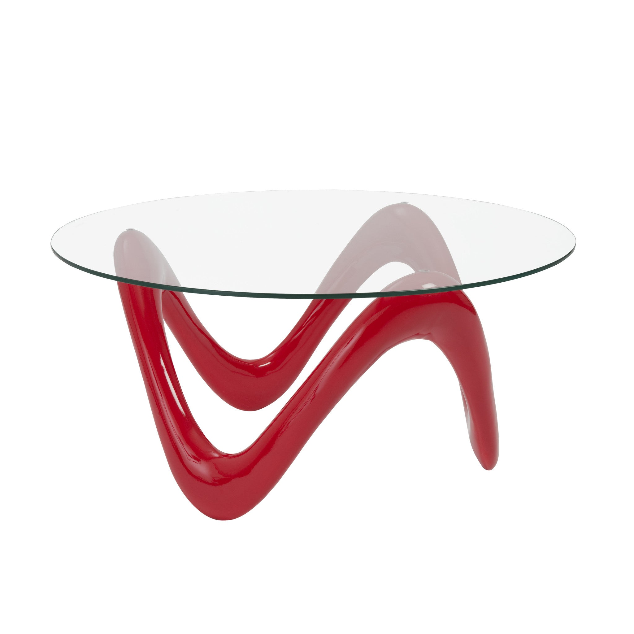 Coral Coffee Table High Gloss Red/Clear