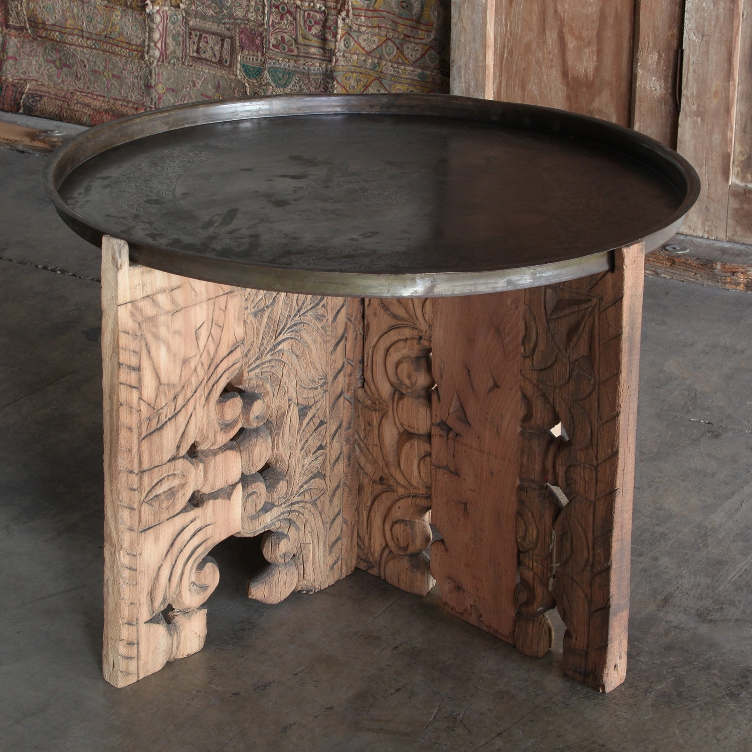 Porter Wood Table With Brass Tray