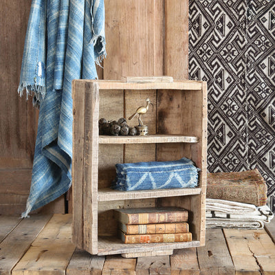 Market Salvaged Shelved Wood Crate Natural