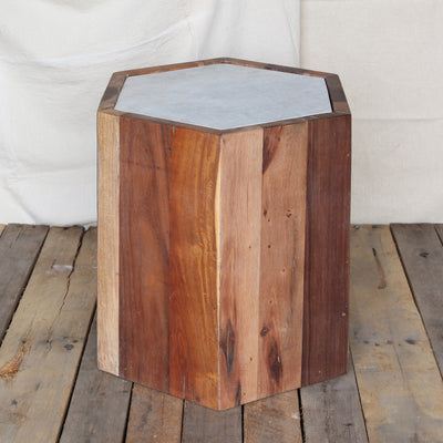 Reclaimed Wood Hexagon Marble Top Table