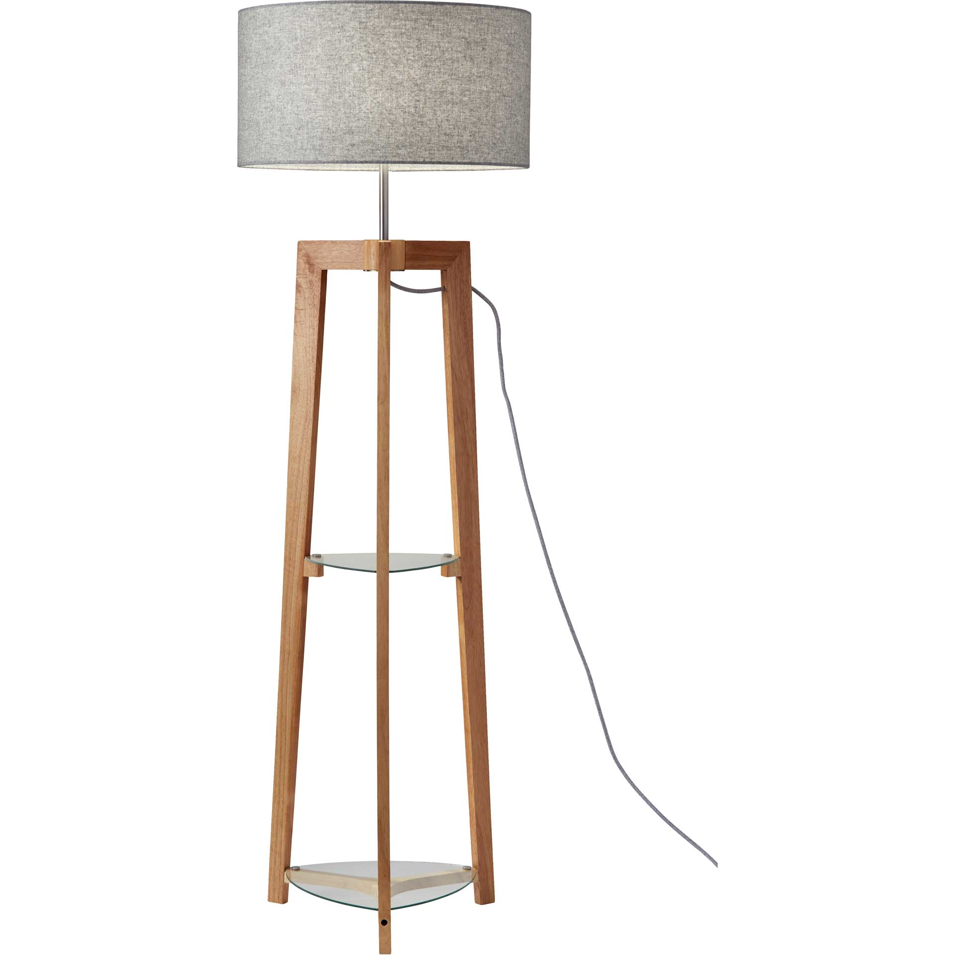 Herblay Shelf Floor Lamp Natural/Gray
