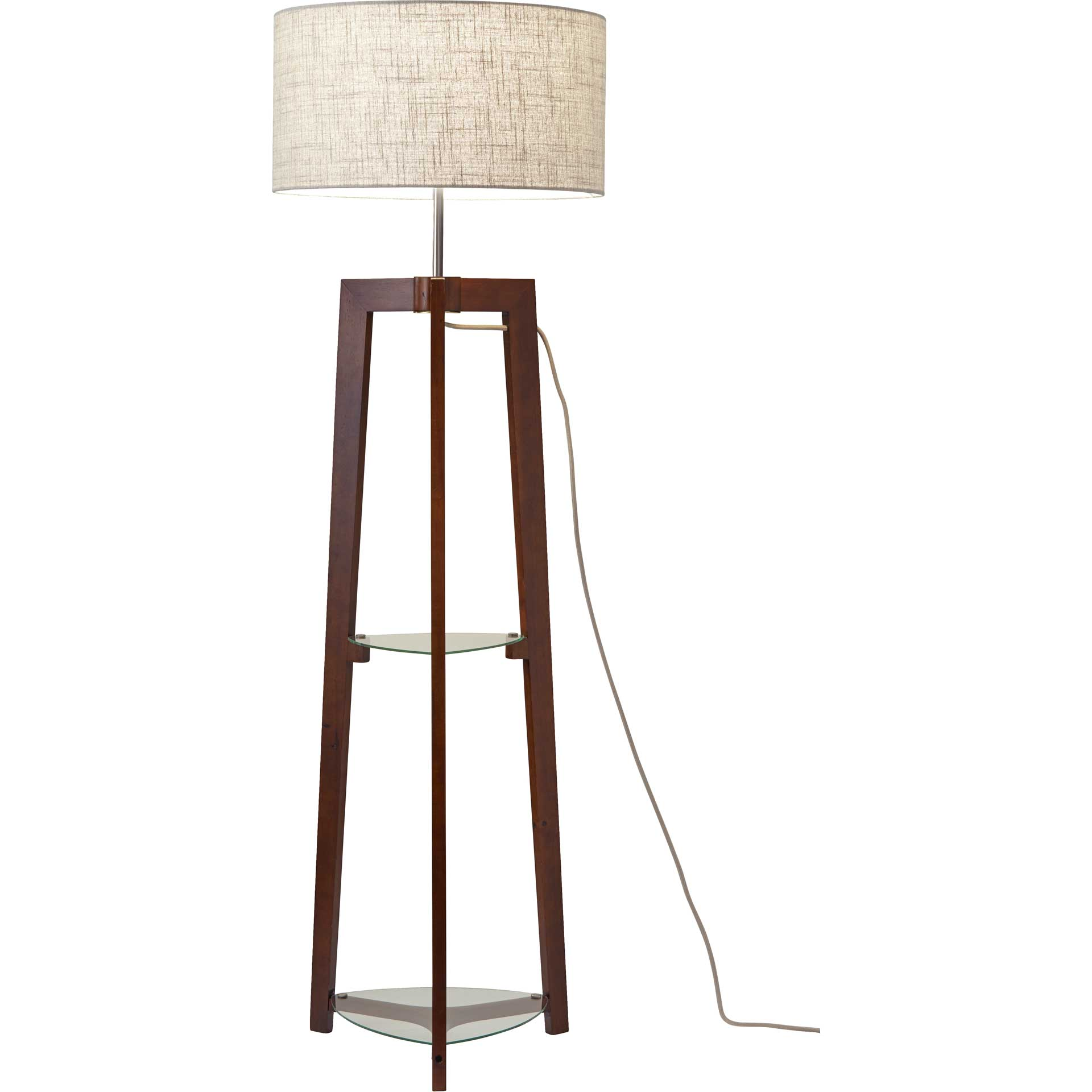 Herblay Shelf Floor Lamp Walnut