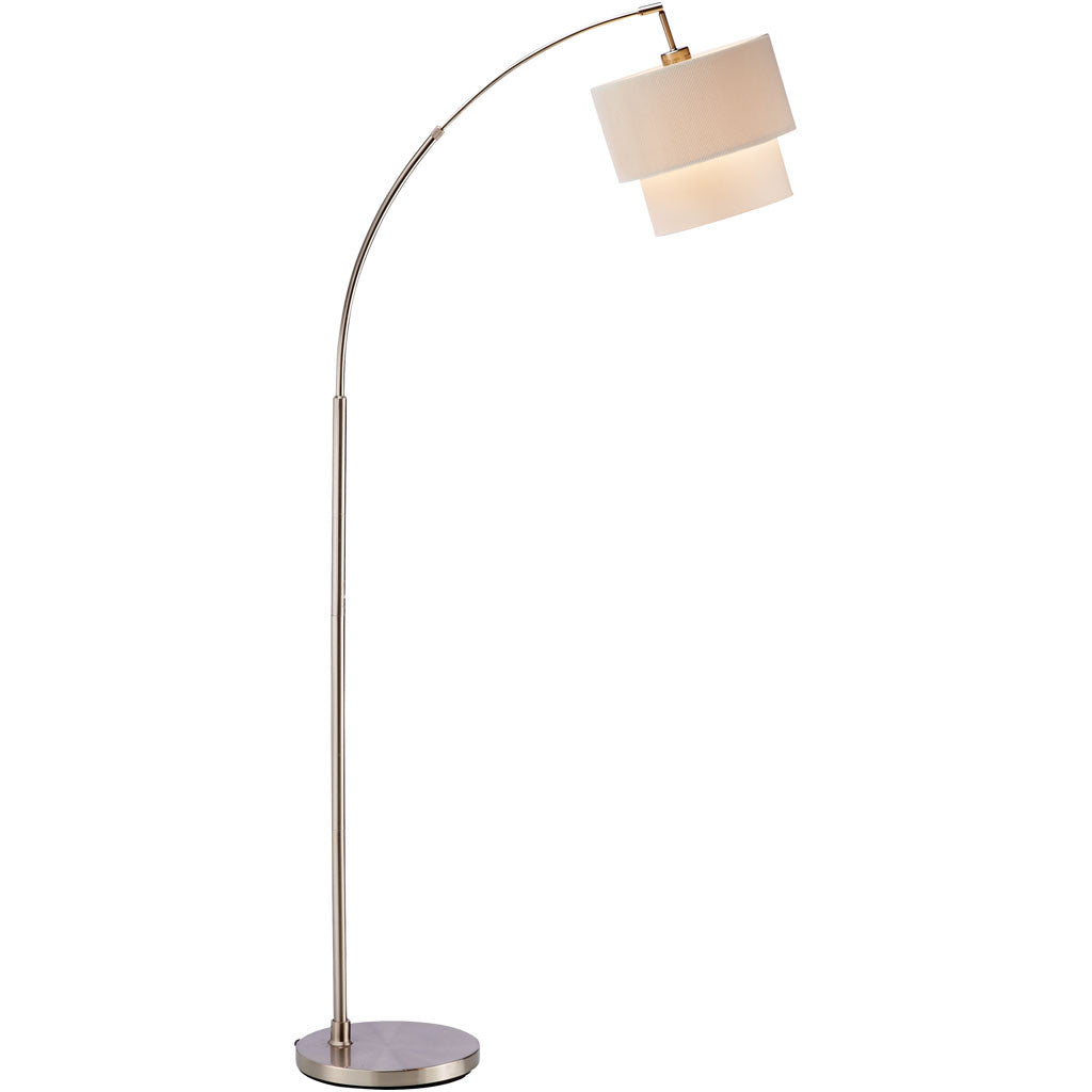 Glimmer Arc Lamp Brushed Steel