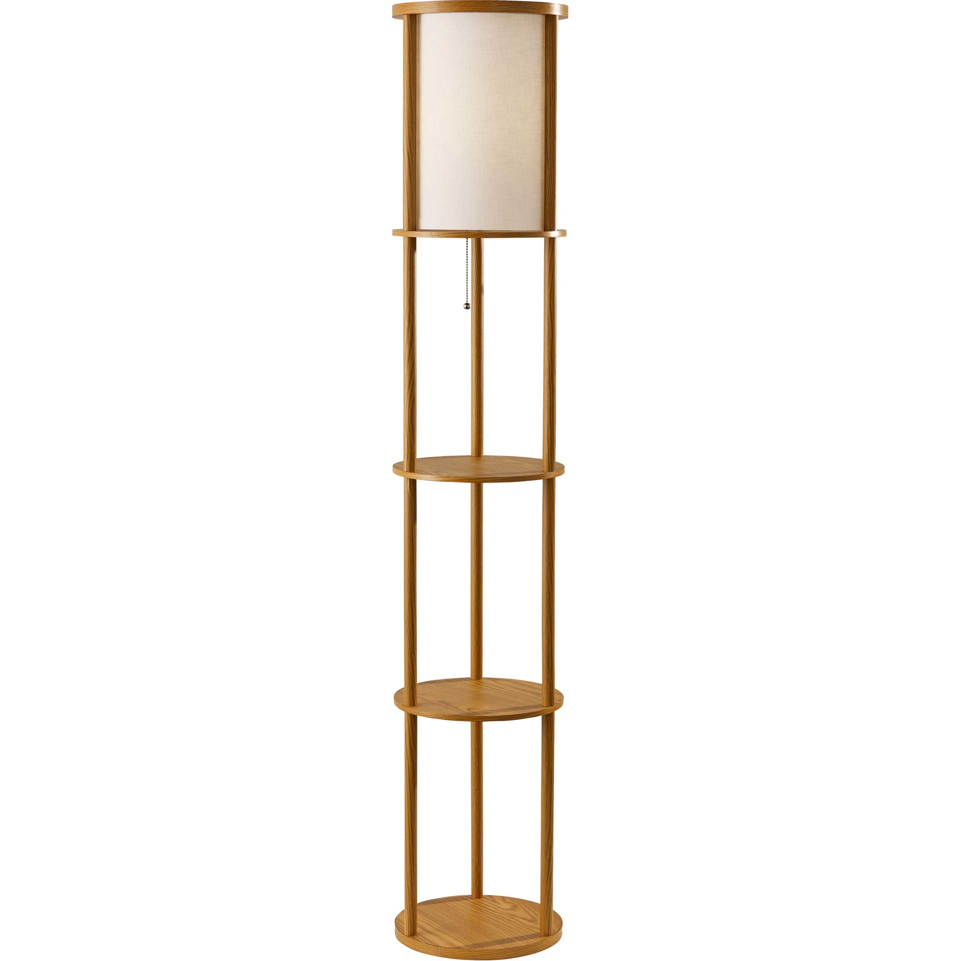 Stavanger Round Shelf Floor Lamp Natural/Brown