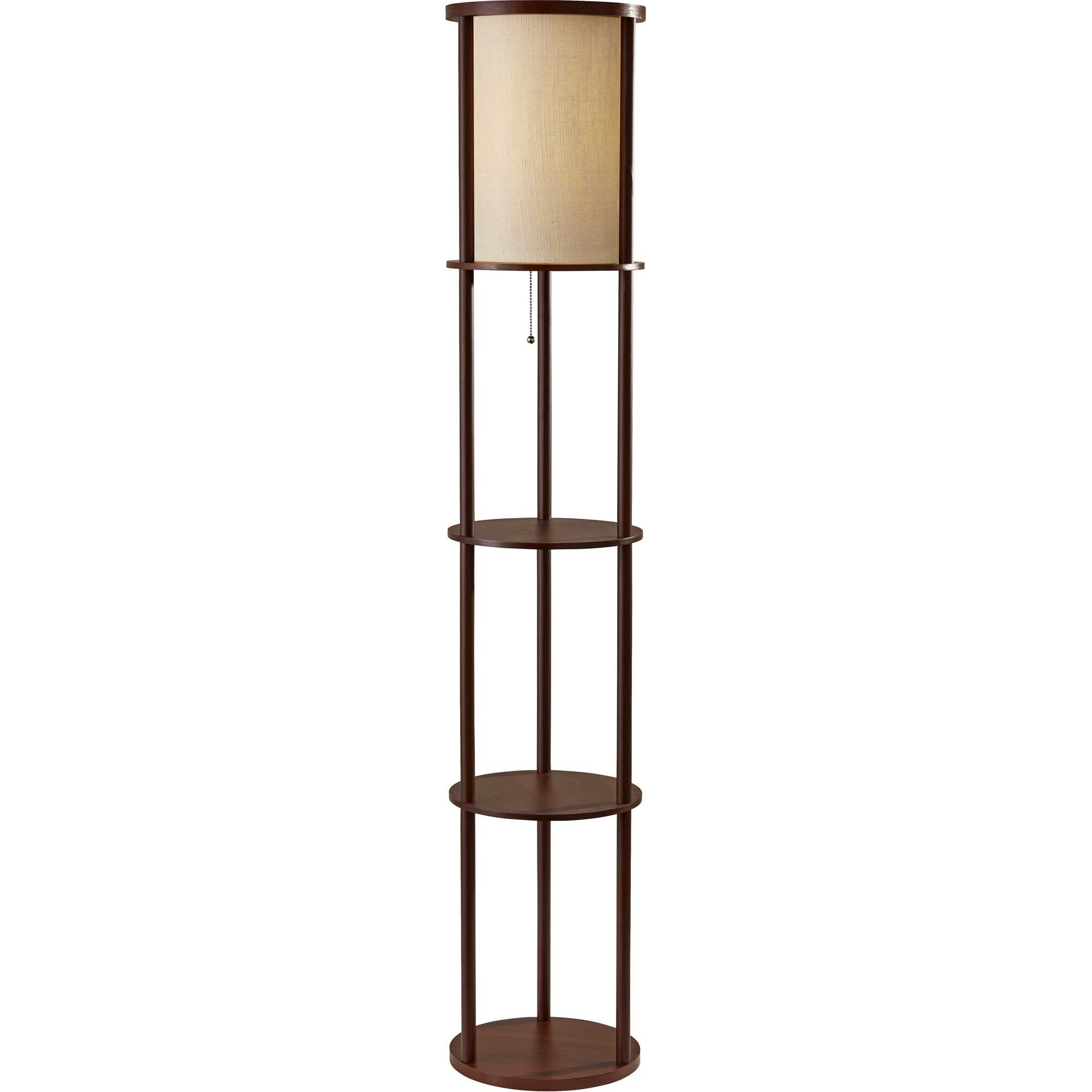 Stavanger Round Shelf Floor Lamp Walnut/Brown