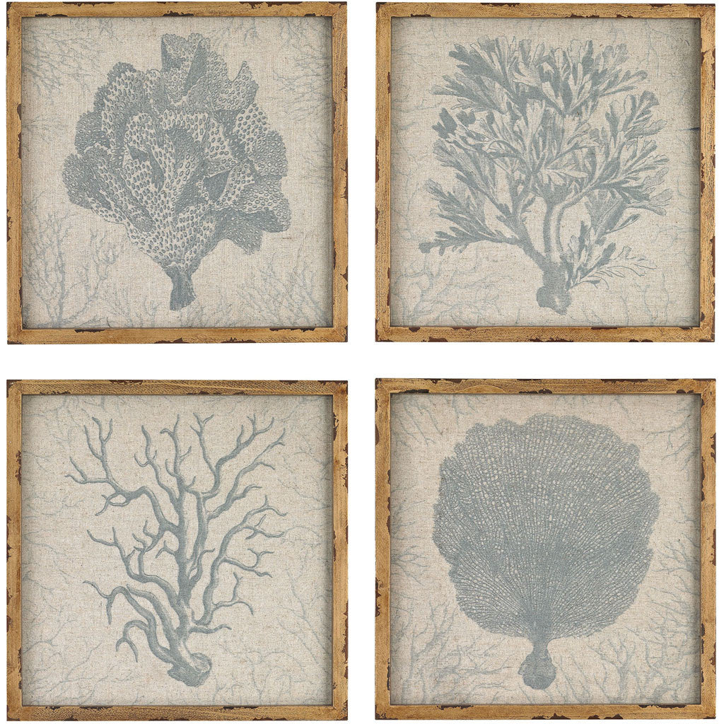 Pascal Coral Prints on Linen (Set of 4)