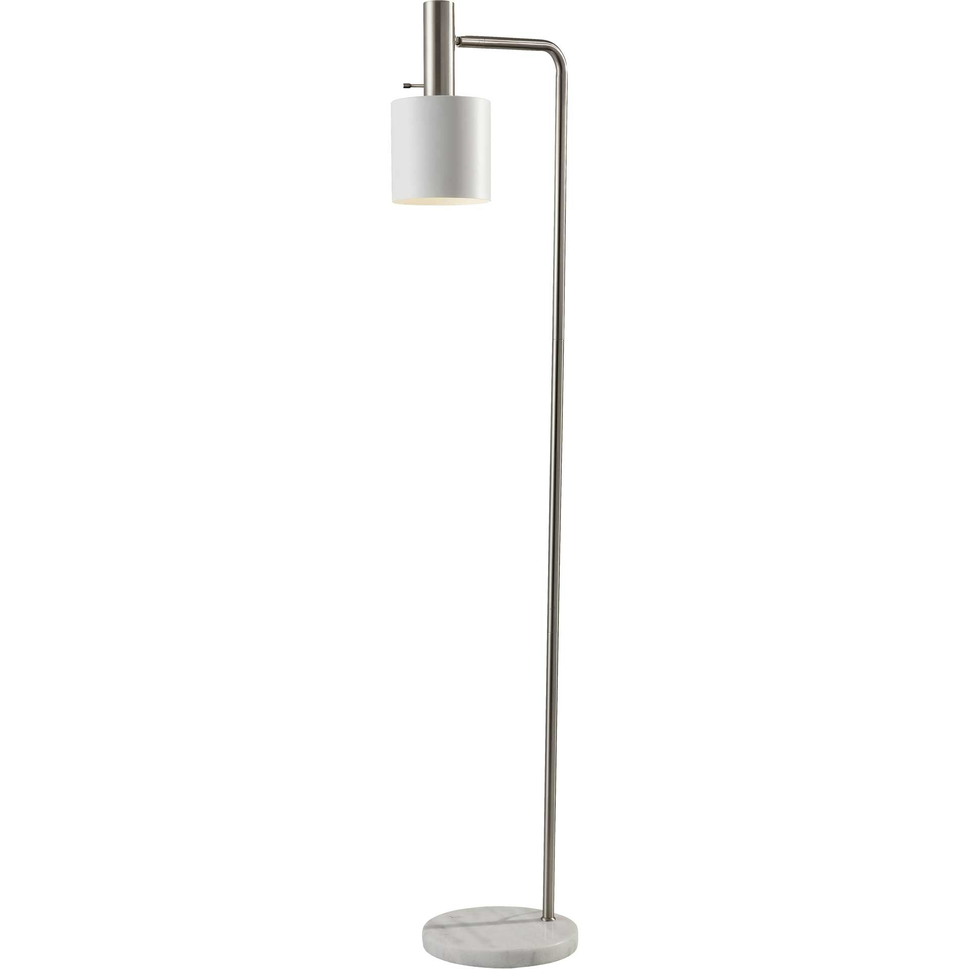 Epinal Floor Lamp Brushed Steel/White