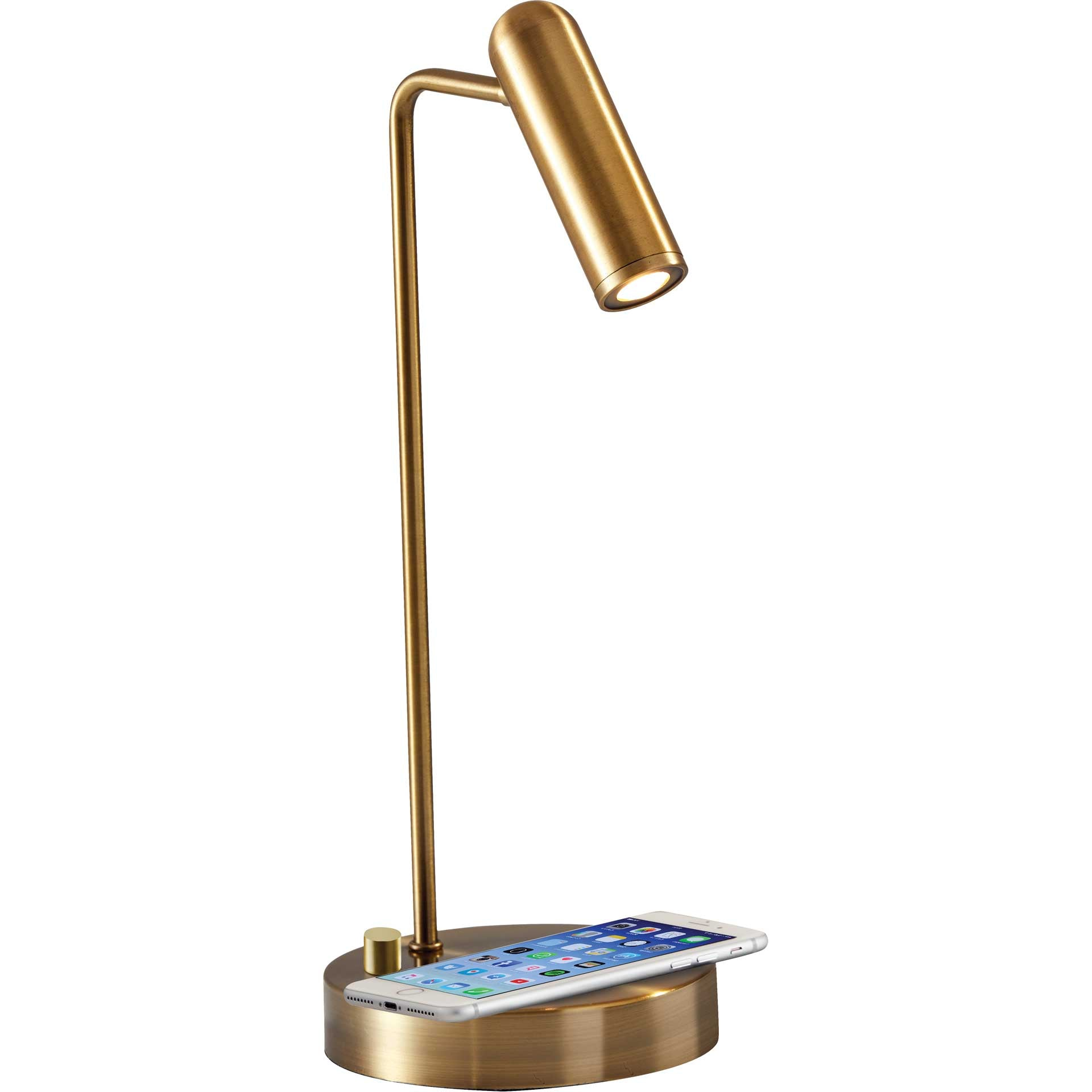 Kane Wireless Charge Desk Lamp Brass