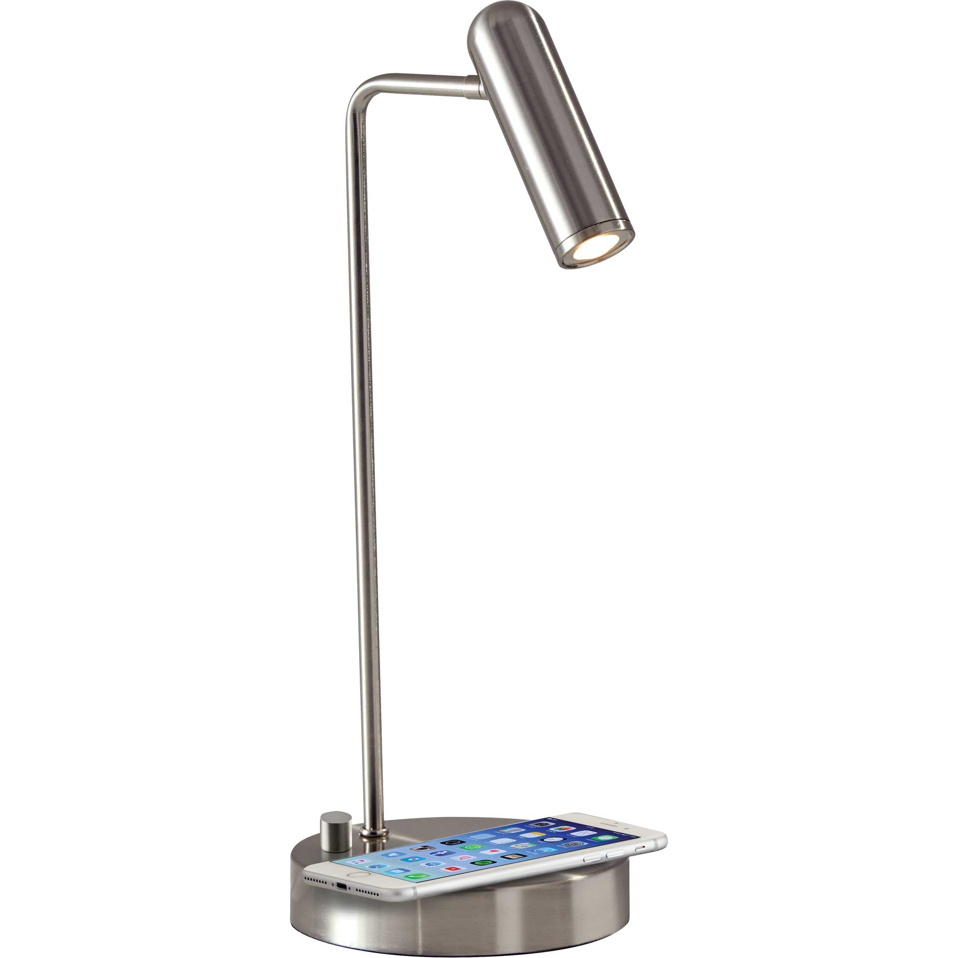 Kane Wireless Charge Desk Lamp Brushed Steel